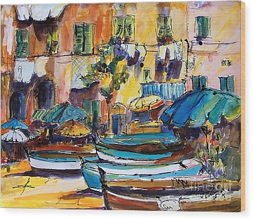 Streets Of Portofino Italy Wood Print by Ginette Callaway