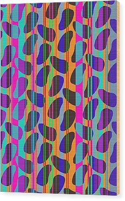 Stripe Beans Wood Print by Louisa Knight