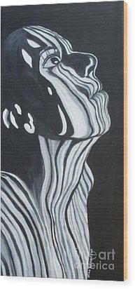 Wood Print featuring the painting Stripes by Julie Brugh Riffey
