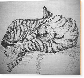 Stripes Wood Print by Mary Schiros