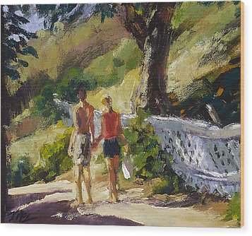 Stroll The Cove Wood Print by Mark Lunde