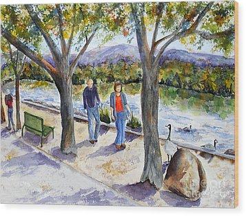 Strolling Virginia Lake Wood Print by Vicki  Housel