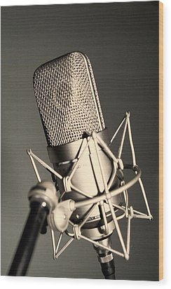 Wood Print featuring the photograph Studio Mic by Kim Wilson