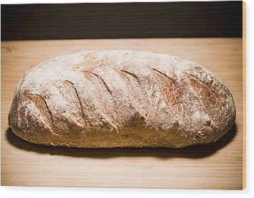 Studio Shot Of Loaf Of Bread Wood Print by Kristin Lee