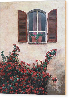 Wood Print featuring the painting Studio Window by Tom Roderick