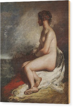 Study Of A Seated Nude Wood Print by William Etty