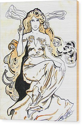 Study Of Art Nouveau After Mucha Wood Print by Julie Coughlin