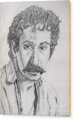 Study Of Jim Croce Wood Print by Julie Coughlin