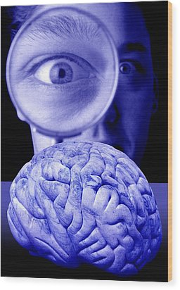 Studying The Brain, Conceptual Image Wood Print by Victor De Schwanberg