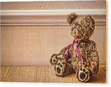 Stuffed Friend Wood Print by Heather Applegate