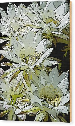 Stylized Cactus Flowers Wood Print by Phyllis Denton