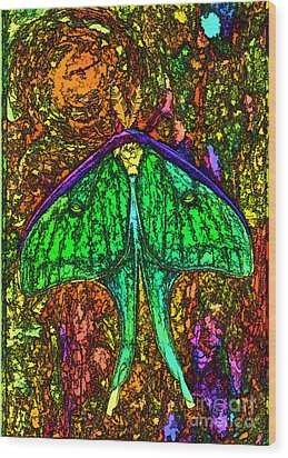 Wood Print featuring the photograph Stylized Luna Moth by Clare VanderVeen