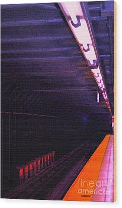Subway Silence Wood Print by Gwyn Newcombe