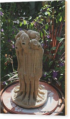 Suffering Circle Ceramic Sculpture Brown Clay  Wood Print by Rachel Hershkovitz