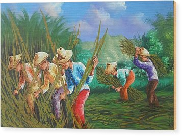 Sugar Cane Harvest Wood Print by Pretchill Smith
