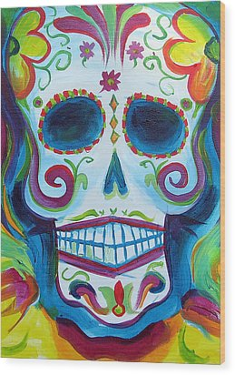 Sugar Skull Wood Print by Janet Oh
