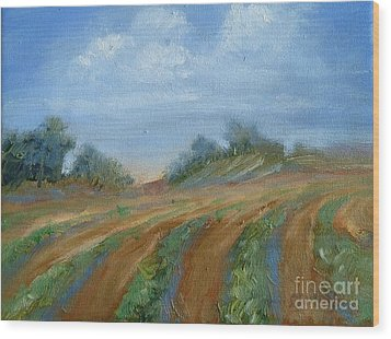 Wood Print featuring the painting Summer Fields by Sally Simon