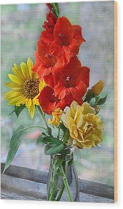 Summer Floral Wood Print by Debbie Portwood