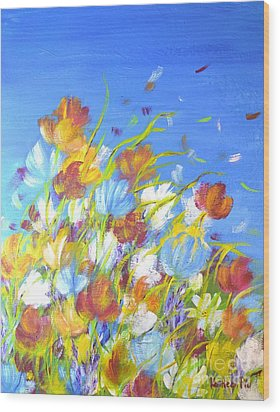 Wood Print featuring the painting Summer Flowers by Kathleen Pio