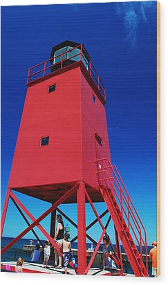 Wood Print featuring the photograph Summer Fun Down By The Lighthouse by Janice Adomeit