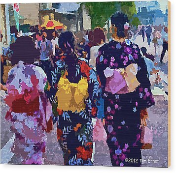 Wood Print featuring the digital art Summer In Japan by Tim Ernst