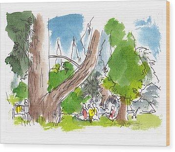 Summer In The Garden Wood Print