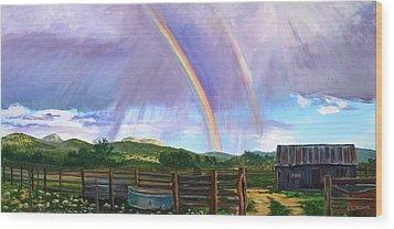 Summer Rain At The Ranch Wood Print by Rita Lackey