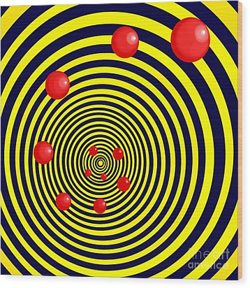 Summer Red Balls With Yellow Spiral Wood Print