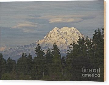 Summer Solstice - Mount Rainier Wood Print by Sean Griffin