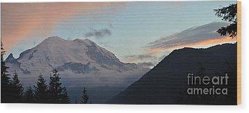 Summer Sunset On Mt. Rainier Wood Print