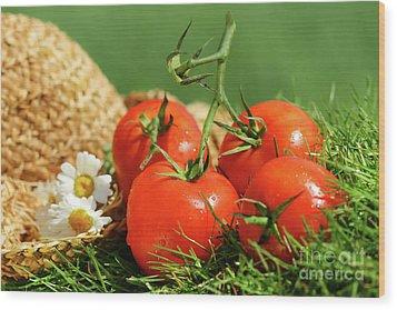 Summer Tomatoes Wood Print by Sandra Cunningham