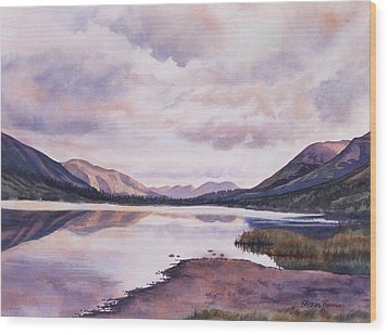 Summit Lake Evening Shadows Wood Print