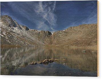 Summit Lake In September Wood Print by Stephen  Johnson