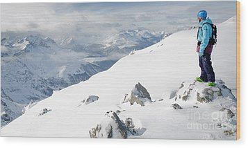 Summit Snowboarder Planning The Descent From Weissfluhgipfel Davos  Wood Print by Andy Smy