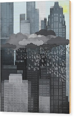 Sun Coming Out During A Thunderstorm Wood Print by Jutta Kuss