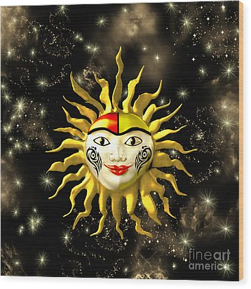 Sun Face  Wood Print by Methune Hively