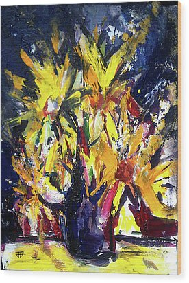 Sun Flower Night Wood Print by John Jr Gholson