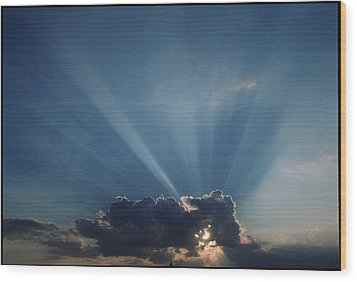 Sun Rays And Cumulus Cloud Wood Print by Pekka Parviainen
