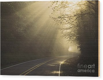 Sun Rays On Road Wood Print by Ron Sanford and Photo Researchers