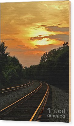 Sun Reflecting On Tracks Wood Print by Benanne Stiens