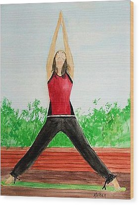 Wood Print featuring the painting Sun Salutation by Alethea McKee