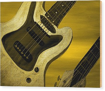 Sun Stained Yellow Electric Guitar Wood Print by Mark Moore