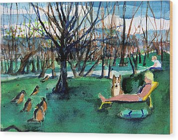 Sunbathing With Friends Wood Print by Mindy Newman