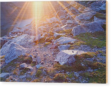 Wood Print featuring the photograph Sunburst Over Abyss Lake by Jim Garrison