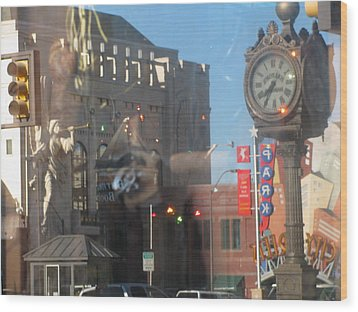 Sundance Square Reflection  Wood Print by Shawn Hughes