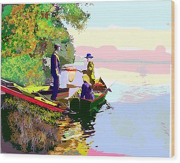 Sunday Fishing Wood Print by Charles Shoup