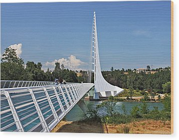 Sundial Bridge - Sit And Watch How Time Passes By Wood Print by Christine Till