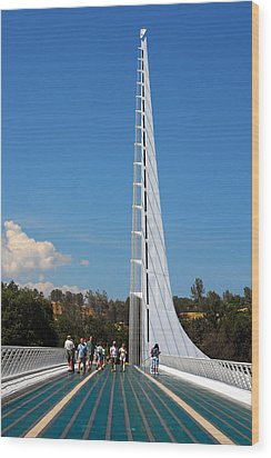 Sundial Bridge - This Bridge Is A Glass-and-steel Sculpture Wood Print by Christine Till