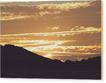 Sundown Wood Print by Caroline Lomeli