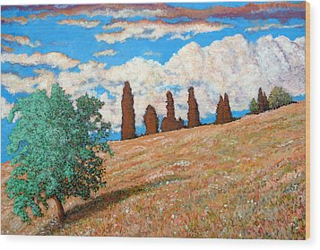 Wood Print featuring the painting Sundown by Tom Roderick